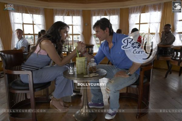 A still image of Saif and Deepika