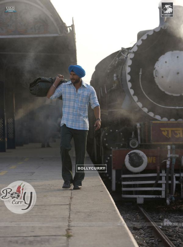 Saif Ali Khan standing on a station