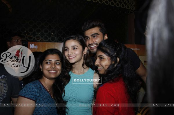 Fans get selifies with Alia Bhatt and Arjun Kapoor at a movie theatre