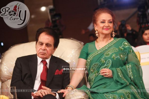 Dilip Kumar and Saira Banu at the launch of his autobiography 'Substance and the Shadow'