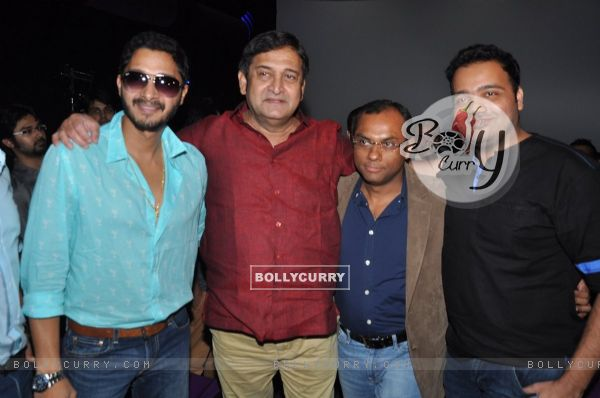 Shreyas Talpade and Mahesh Manjrekar pose for the media at the First Look Launch of Baji