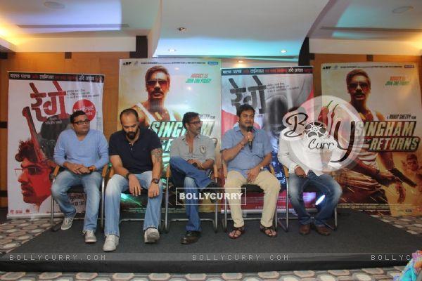Mahesh Manjrekar addresses the audience at the Promotions of Marathi Film Rege