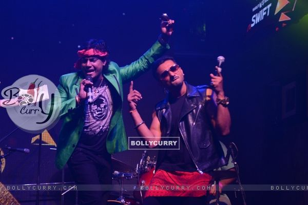 Mohan and Honey Singh Shake-a-leg during the Launch of India's Raw Star