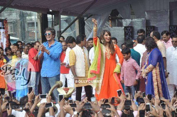 Chunkey Pandey and Bipasha Basu at the Dahi Handi Celebration in Mumbai