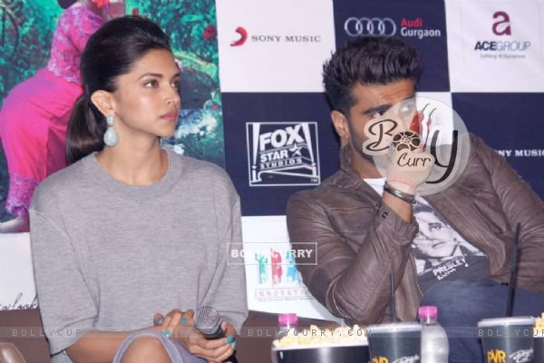Arjun Kapoor and Deepika Padukone at the Promotions of Finding Fanny in Delhi