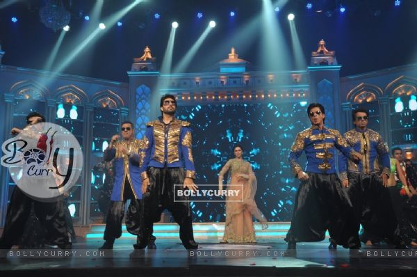 Cast of Happy New Year performing at the Music Launch