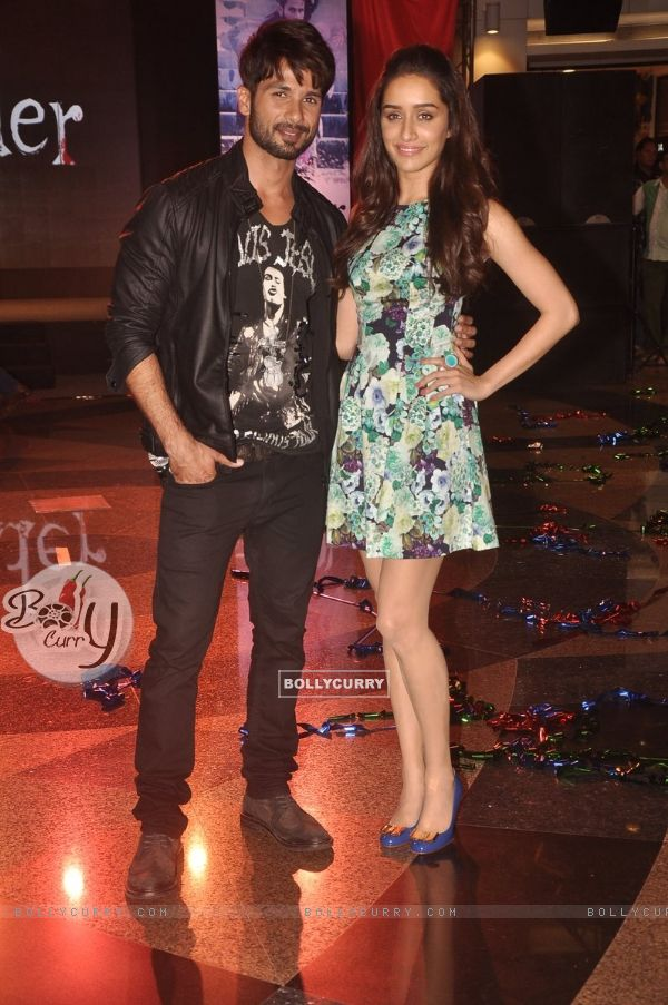 Shahid Kapoor and Shraddha Kapoor pose for the media at the Song Launch of Haider