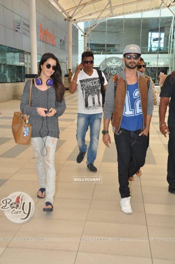 Shraddha Kapoor and Shahid Kapoor snapped at Airport