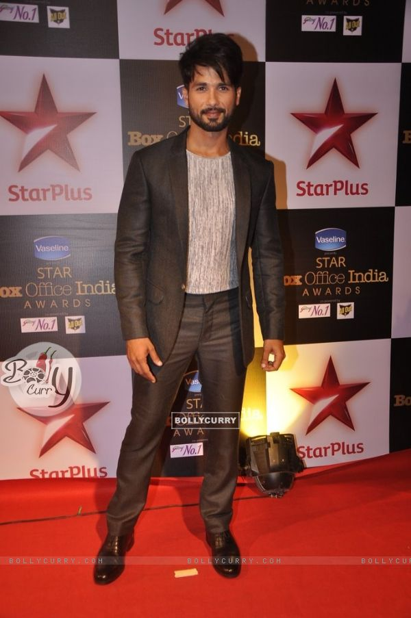 Shahid Kapoor poses for the media at Star Box Office Awards