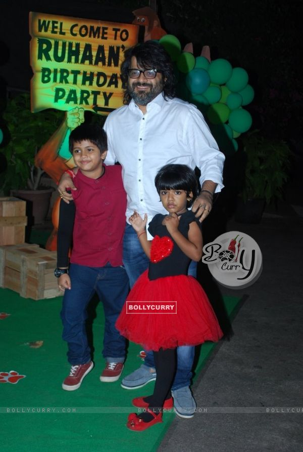 Pritam with his children at Ruhaan's Birthday Party