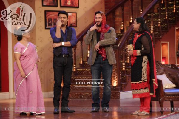 Saif Ali Khan performs an act on Comedy Nights With Kapil