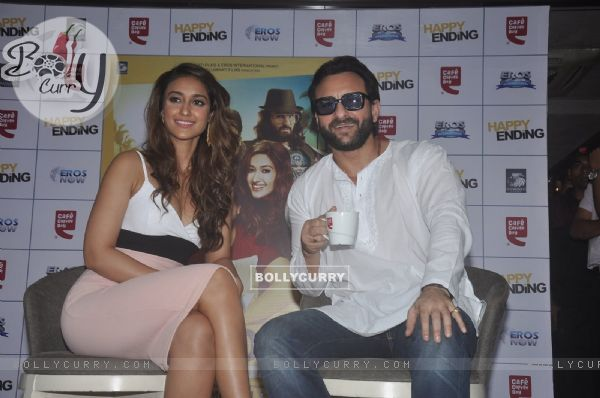 Saif Ali Khan and Ileana D'Cruz pose for the media at the Promotions of Happy Ending at CCD