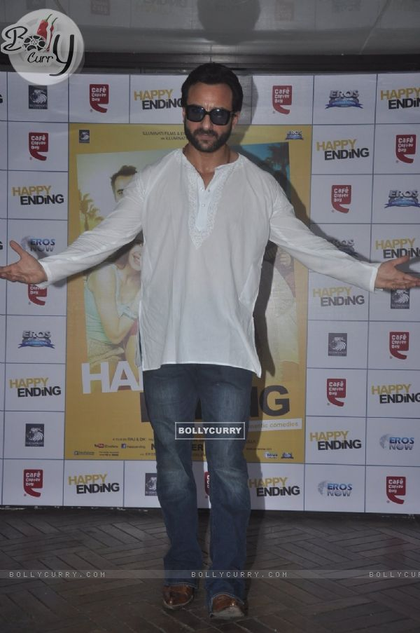 Saif Ali Khan poses for the media at the Promotions of Happy Ending at CCD