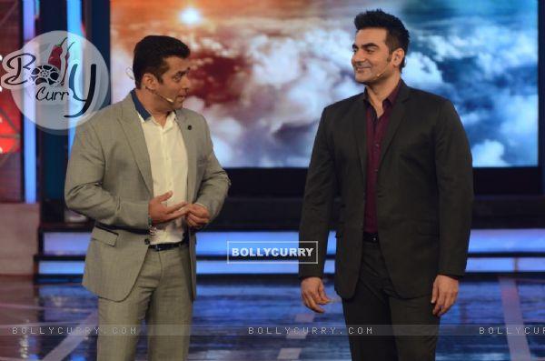 Salman Khan and Arbaaz Khan in Bigg Boss 8
