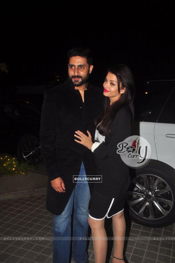 Abhishek Bachchan and Aishwarya Rai Bachchan pose for the media at Farah Khan's Birthday Bash