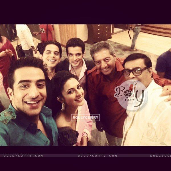 Karan Patel, Divyanka Tripathi, Kaushal Kapoor, Aly Goni and Abhay Bhargavar and  at shoot of YHM