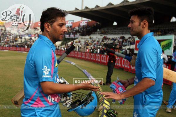 Varun Badola and Rajneesh Duggal were snapped at Mumbai Heroes Match at CCL