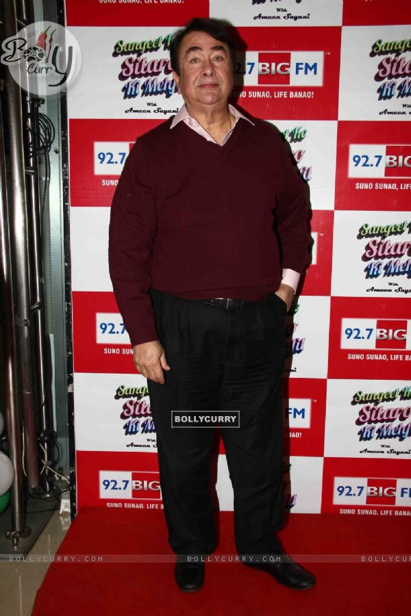 Randhir Kapoor poses for the media at his Birthday Celebrations at 92.7 BIG FM