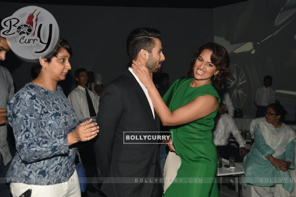 Shahid and Sonakshi strike a fun pose at the BMW i8 Launch
