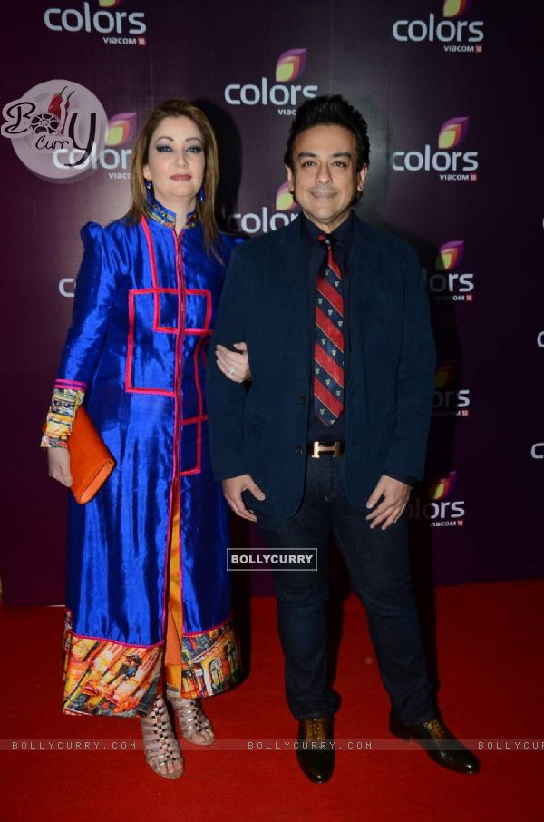 Bollycurry Adnan Sami With His Wife At Colors Party