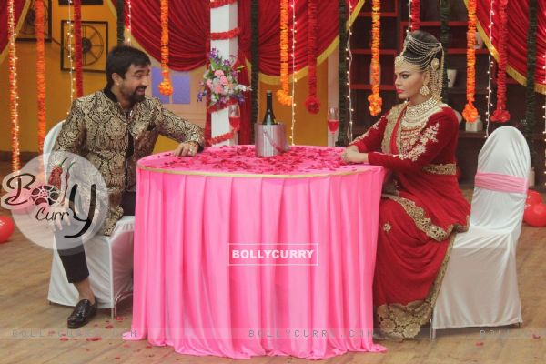 Rakhi Sawant and Ajaz Khan on the Sets of Comedy Classes