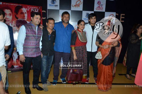 Mahesh Manjrekar, Satya Manjrekar and Renuka Shahane at Special Screening of Marathi Movie 'Jaaniva'