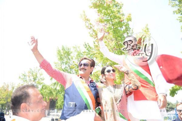 Divya Khosla and Gulshan Grover Spotted in Sabyasachi at a Flag Hoisting Ceremony in San Fransisco!
