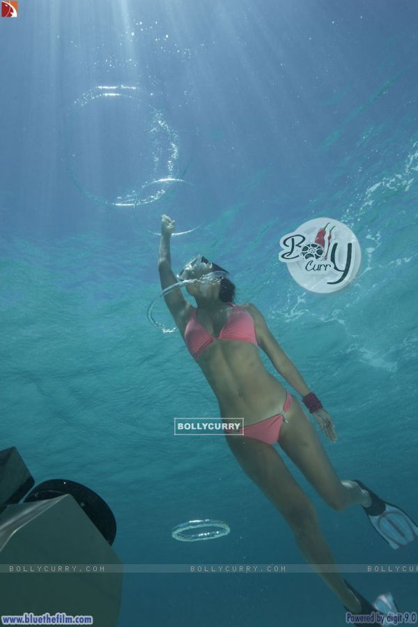 Lara Dutta diving underwater