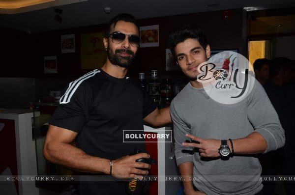 Sooraj Pancholi With Ashmit Patel for Promotions of Hero at Gold's Gym