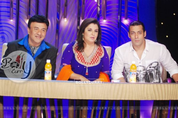 Farah Khan and Anu Malik with Salman Khan