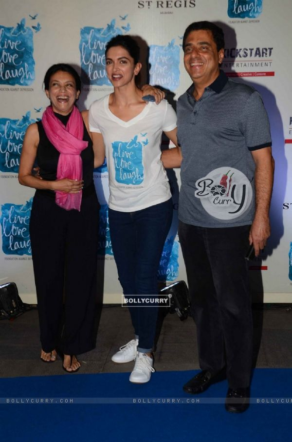 Zarina Mehta, Ronnie Screwvala and Deepika Padukone at Launch of NGO 'Live Love Life'