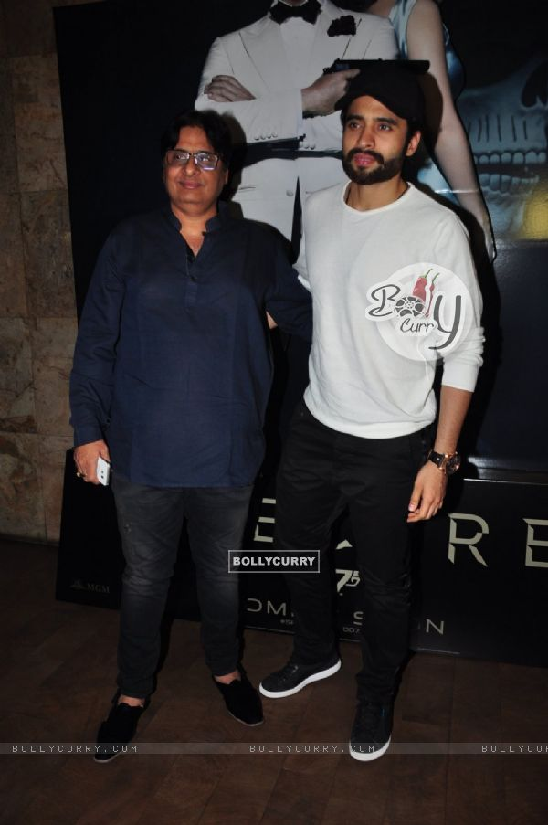 Vashu Bhagnani with son Jackky Bhagnani at Special Screening of 'Spectre'