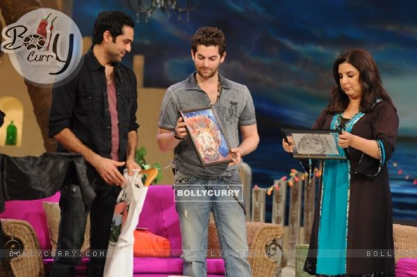 Neil Nitin Mukesh and Abhay Deol with Farah Khan