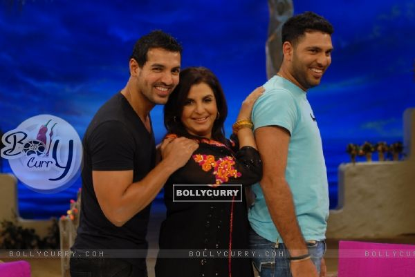 John Abraham and Yuvraj Singh with Farah Khan