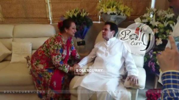 Saira Banu wishing Dilip Kumar at his Birthday Celebration