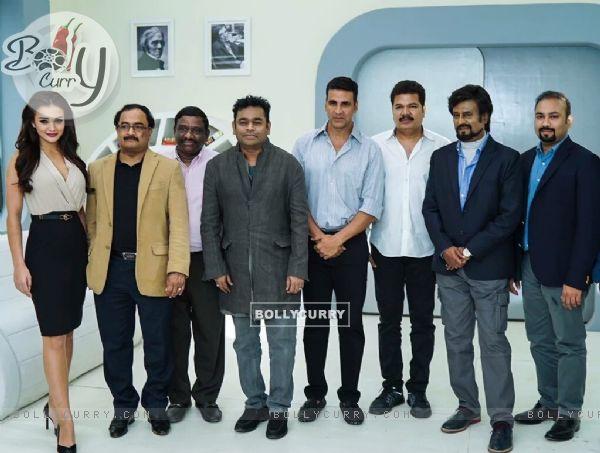 Akshay Kumar, Amy Jackson, A R Rahman and Superstar Rajinikantha at Pooja of Robot 2