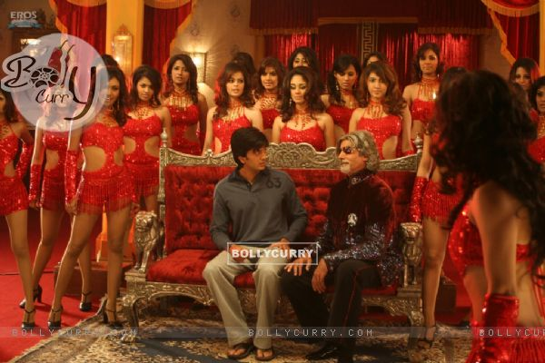 Amitabh and Ritesh with hot models