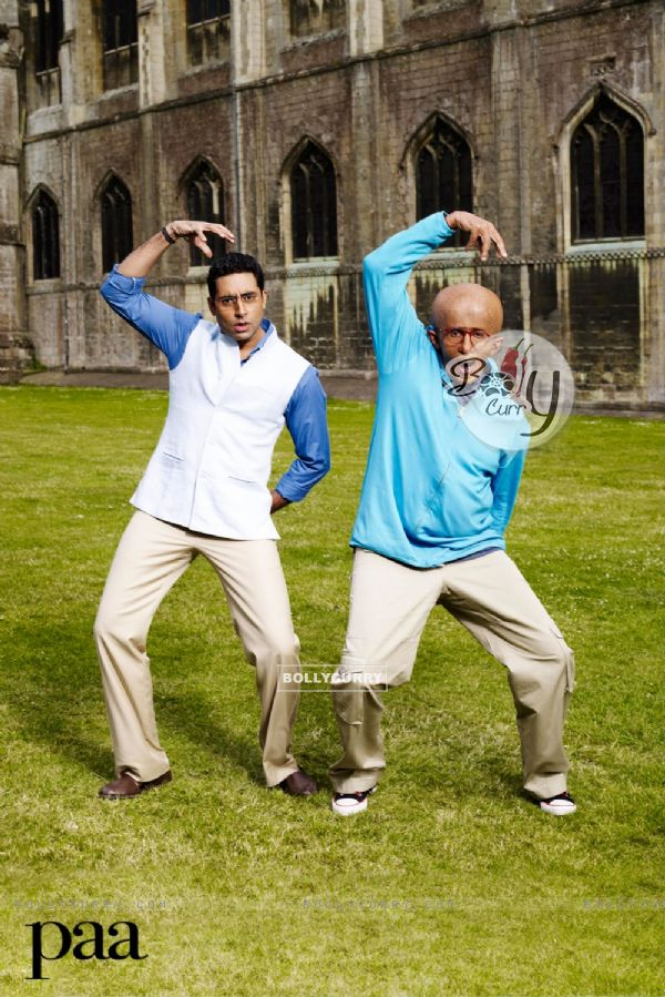 Abhishek and Amitabh dancing together in Paa movie