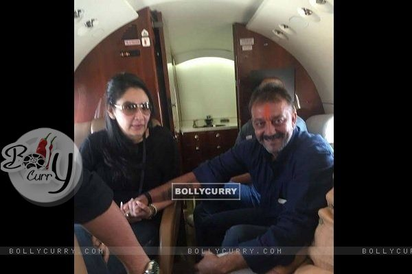 Sanjay Dutt and Manyata Dutt in their Private Plain