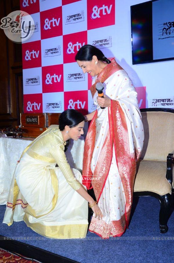 Amrita Rao Seek Blessings from Deepti Naval at Launch of &TV's 'Meri Awaaz Hi Pehchaan Hai'