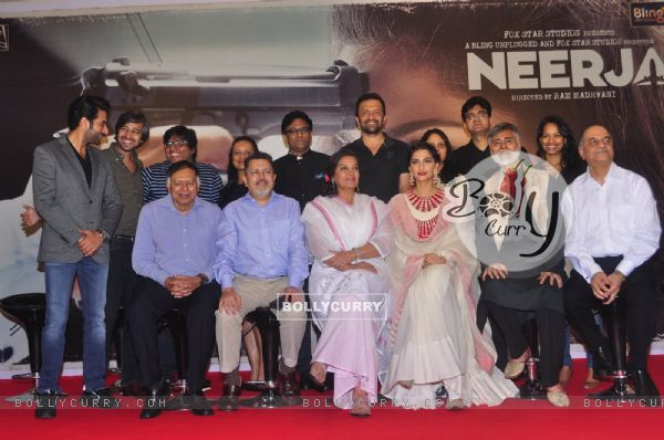 Cast of Neerja with real brothers of Neerja Bhanot at Promotional Event of film