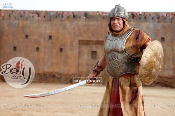 Mithun Chakraborty with sword and shield