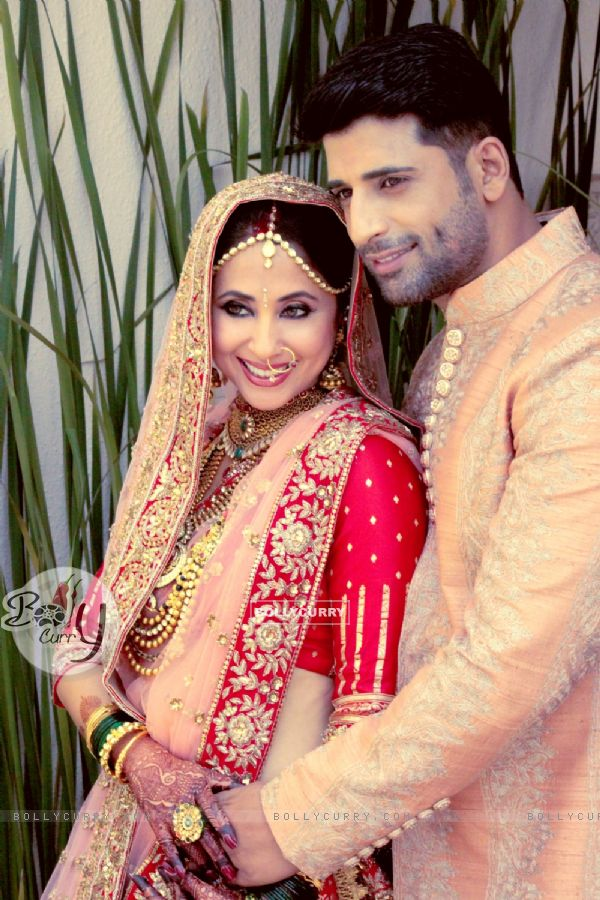 Urmila Matondkar and Mohsin Akhtar Mir at their wedding reception