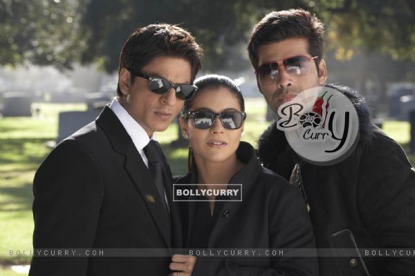 Still of Shahrukh, Kajol and Karan Johar