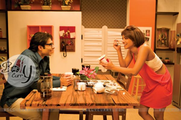 Uday Chopra having coffee with Priyanka Chopra