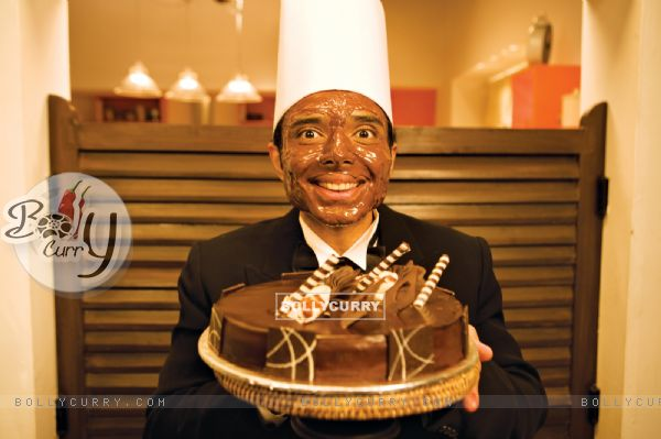 Uday Chopra with Choclate cake