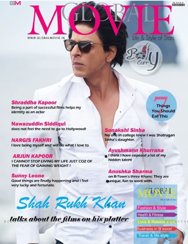 Shah Rukh Khan on the cover of Global Movie Magazine