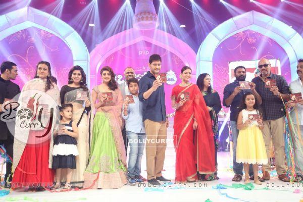Mahesh Babu, Namrata Shirodkar and Kajal Aggarwal at Trailer Launch of the film 'Brahmotsavam'