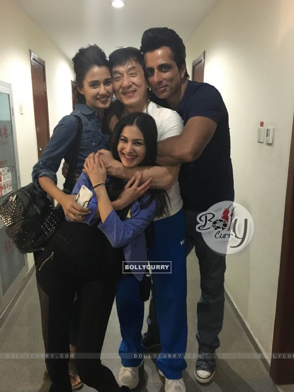 Amyra Dastur and Sonu Sood with Jackie Chan