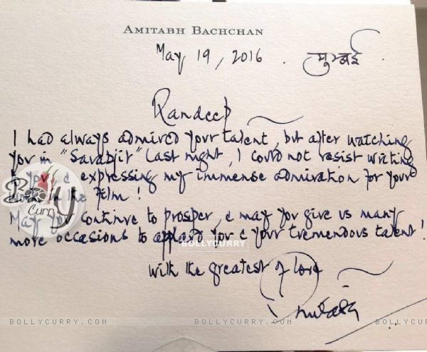 Amitabh Bachchan's letter to Randeep Hooda for Sarabjit's Success! (406642)